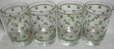 Lot of 4 1980's ?Libbey? Holly Berry Christmas Drinking Glasses MINT
