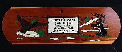 Vintage Wood Hunter's Code Painted Sign Deer Hunter Plaque MAN CAVE decor