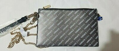 Versace Jeans Silver Chain Strap Wrist Clutch Bag 100% AUTHENTIC