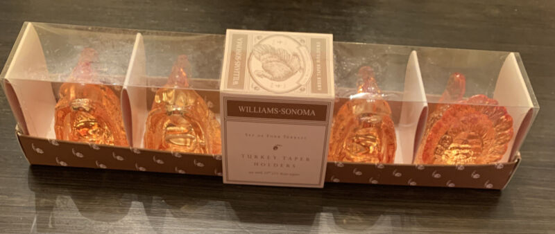 Set of 4 Williams Sonoma Amber Turkey Candle Taper Holders Fall Thanksgiving