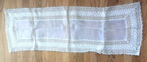 """Vtg EMBROIDERED  TABLE DOILY Lace EYELET  ORGANDY Runner  Ecru 40"""" x 14"""""""