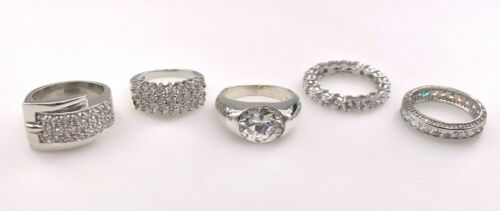 JTV STERLING SILVER 925 CLEAR CUBIC ZIRCONIA CZ INFINITY BAND COCKTAIL RINGS LOT