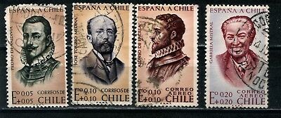 1961 CHILE - Earthquake Relief Fund - 4 x StampsSG 534 to 537 2 aereo used