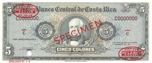 Costa Rica  5  Colones  ND. 1960