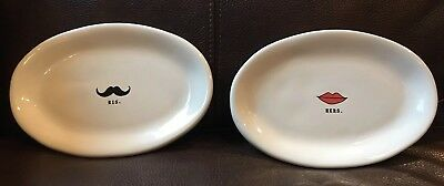 NEW Rae Dunn HIS Mustache & HERS Lips Oval Plates Pottery SET of 2  (Mustache Plates)