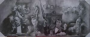 GANGSTER LEGENDS GODFATHER SCARFACE SPORANO  CANVAS WALL ART 48 X 20 FREE PP