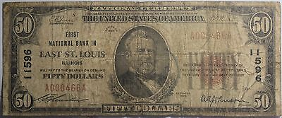 1929 First National Bank In East St  Louis Illinois  50 Bank Note Fr 1803 1