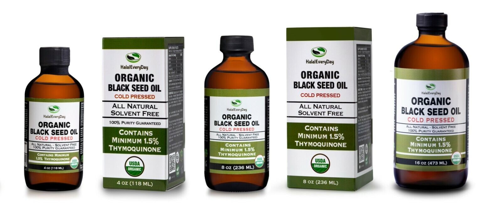 Black Seed Oil - USDA Organic 100% Pure COLD PRESSED Cumin Nigella Sativa GLASS 1