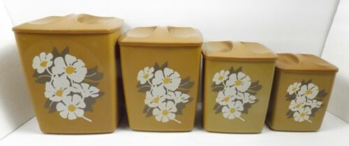 Vintage Gold Kitchen Storage Canister Set with Daisy Blossom Design