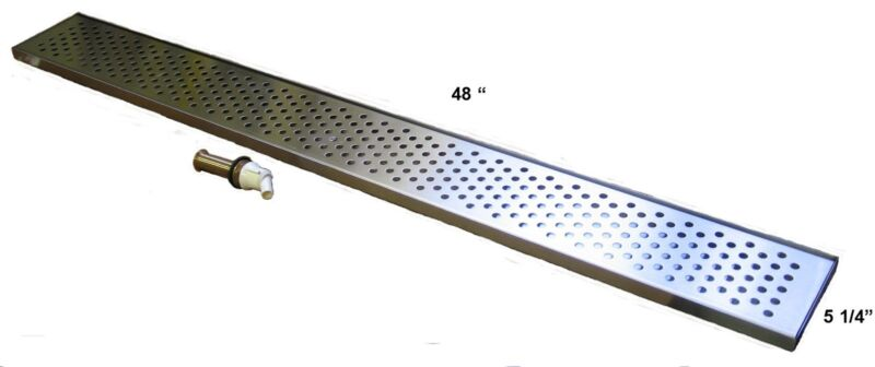 """Draft Beer Drip Trap 48"""" x 5 1/4"""" w/ s.s. grill and 4"""" metal drain - DT48SS"""