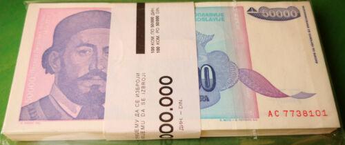 Yugoslavia 100 X 50 000 Dinars 1993. P-130. One Bundle. UNC.