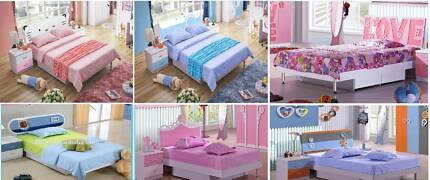 brand new single kids beds blue or pink 6 models available