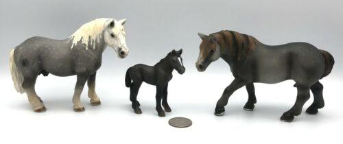 Schleich Horses PERCHERON FAMILY MARE STALLION FOAL 13626 13623 13627 Figures