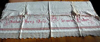 1x Vintage Altartuch Fronleichnamsdecke mit alter Spitze Handarbeit
