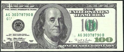 1996 $100 FRN Gutter Fold And Offset Printing Error Note Chicago Uncirculated