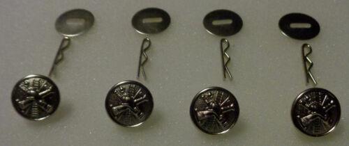 4 FIRE SCRAMBLE Silver Uniform Shirt Buttons Small Pins/Washers