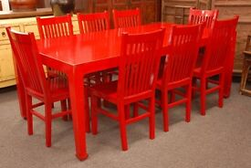 Ex Showroom large Red Lacquered Chinese Style table and eight Chairs, Drop off possible
