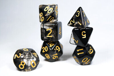 Dark Cloud Swirl Translucent Black/clear Poly Dice Set with Gold (7) RPG DnD Hd](Clear Dice)