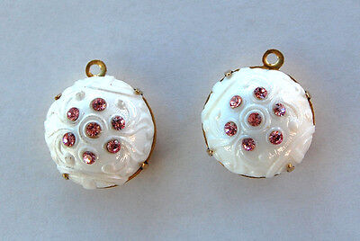 VINTAGE 2 WHITE ETCHED FANCY GLASS PENDANT BEADS PINK RHINESTONES • 20mm