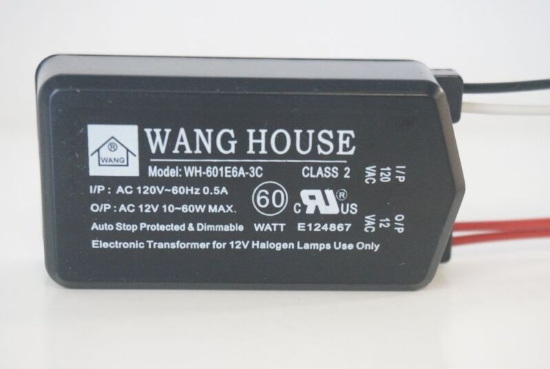 WH-601E6A3C 12V/60W Wang House Low Voltage Halogen Electronic Transformer NEW !!