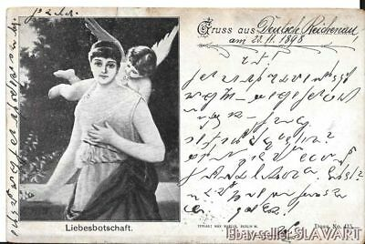 POSTCARD 1898 Greeting Deutsch Reichenau Czech Rychnov u Novych Hradu love angel