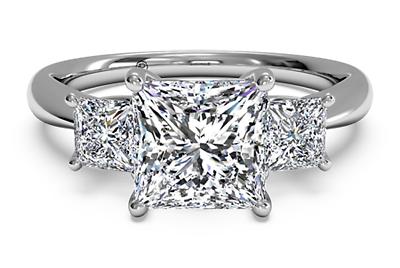 Natural 1.04 ct Princess Cut Three Stone Diamond Engagement Ring  F VVS1 1