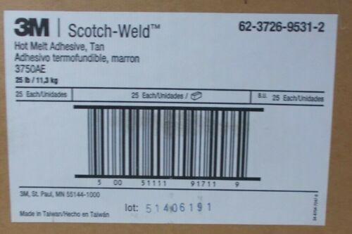 "Hot Melt Adhesive Tan 3M Scotch Weld 3750 AE 1/2"" x 10""   ""25 Lb. Box"""