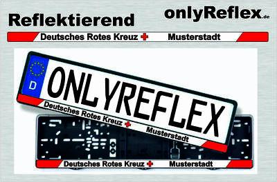 Deutsches Rotes Kreuz mit Wunschort, Nummernschild Aufkleber, rot reflektierend