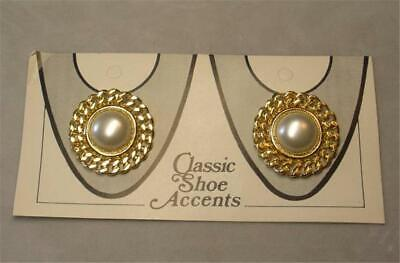 VINTAGE GOLD PLATED FAUX PEARL SHOE CLIPS NEW OLD STOCK Pearl Shoe Clips