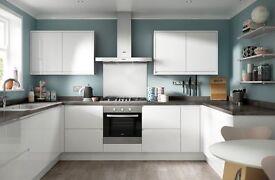 Brand new SOHO gloss white Handless kitchen with AEG appliances