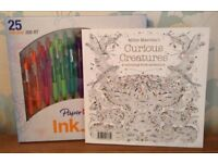 Curious Creatures Colouring Book with 25 Pater Mate Ink Joy Pens NEW