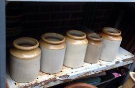 5x vintage earthware pottery jars
