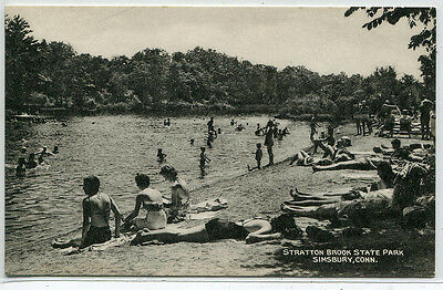 Beach Scene Stratton Brook State Park Simsbury Connecticut Postcard