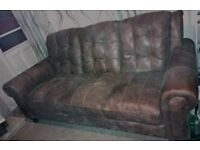 3 seater sofa, brown leather, weathered look, large, comfortable Two available