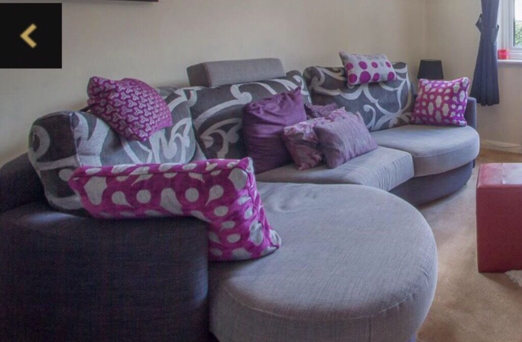 Fama Large Curved Grey And Purple Sofa Including Matching Cushions