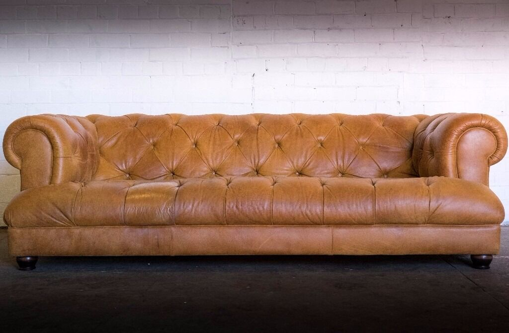 LUXURY JOHN LEWIS DRUMMOND GRAND BY TETRAD TAN LEATHER CHESTERFIELD SOFA in Mexborough, South