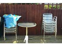Aluminium chairs x 8 and table