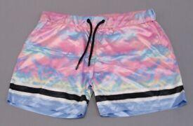 Night Addict Men Tie Dye Panel Mens Running Shorts , New , X Large