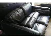 Large 2 seater black leather sofa
