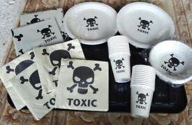 Halloween Toxic Skull Crossbones Party Bundle Lot:Cups,Plates,Bowls,Napkins,TableCloths, Cash/Barter