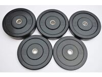 150KG Full Black Rubber Bumper Plates Set - Premium Slimline - Weightlifting Crossfit Olympic Gym
