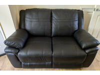 2 seater sofa, Black, Faux Leather *Nearly NEW*