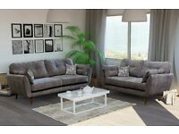 BRAND NEW ZINC 3+2 SEATER FABRIC SOFA WITH WOODEN LEGS IN GREY WITH FREE DELIVERY AND SETUP !!!