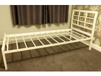 SINGLE WHITE STEEL BED FRAME