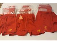 Mens Liverpool red and gold football shorts job lot