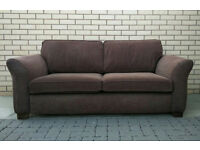 Very comfy 3 seater DFS brown fabric sofa VGC. Free delivery in Leicester