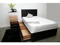 "BRAND NEW GOOD QUALITY DIVAN WITH 8.5"" MEDIUM FIRM MATTRESS.BLACK OR WHITE BASE.HEADBOARD.STORAGE"
