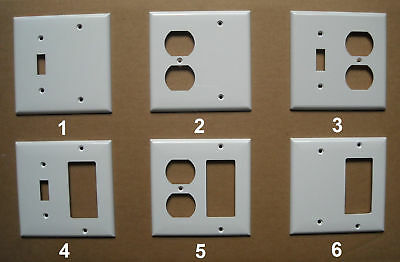 2 GANG COMBO TOGGLE SWITCH DUPLEX PLUG GFI GFCI BLANK PLASTIC COVER PLATE WHITE 2 Gang Switch Wall Plates