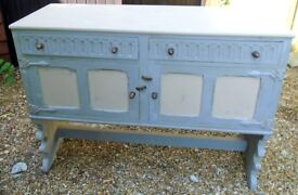 Antique solid oak sideboard,painted with a slightly distressed grey finish.