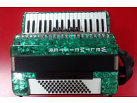 Ex-Display, Like New, Green Weltmeister Achat 72-bass Accordion. Made in Germany. Case Included